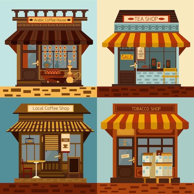 Ensemble de façades de magasins et de mini-magasins locaux Vecteur gratuit