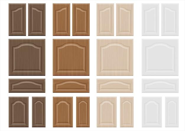 Ensemble de façades de meubles en bois textures Vecteur Premium