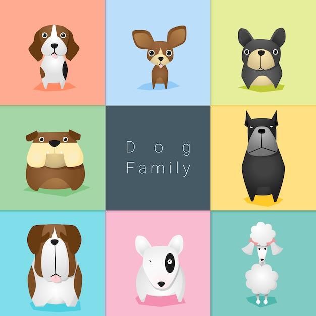 Ensemble de famille de chien Vecteur Premium