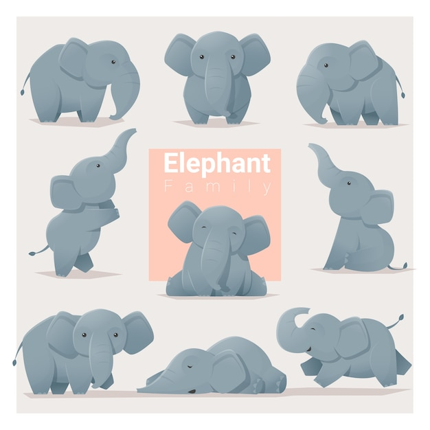 Ensemble De La Famille Des éléphants Vecteur Premium
