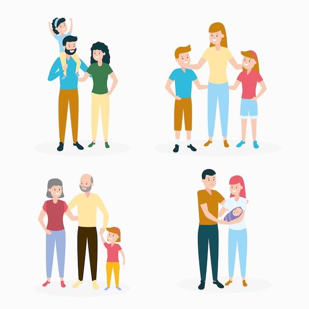 Ensemble De La Famille Vecteur gratuit