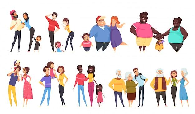 Ensemble De Familles Hétérosexuelles Avec Enfants Vecteur gratuit