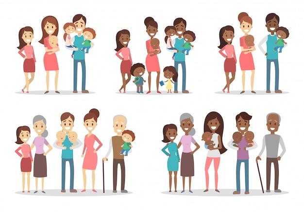 Ensemble De Familles Heureuses. Parents Avec Enfants Et Grands-parents. Vecteur Premium