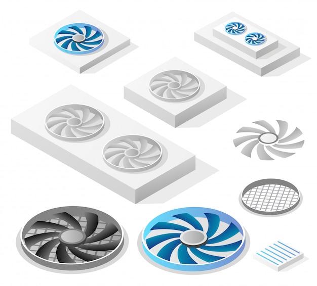 Un ensemble de fans d'ordinateur isométrique Vecteur Premium