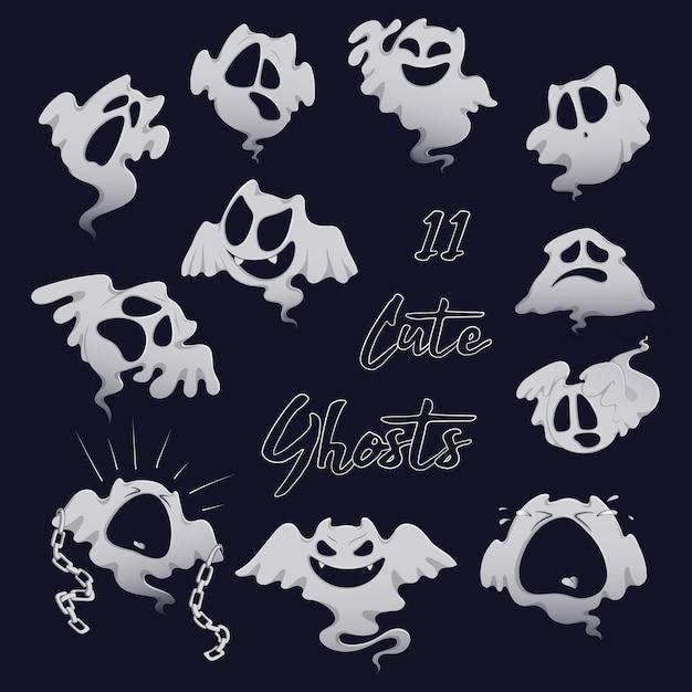 Ensemble de fantômes blancs effrayants pour halloween. Vecteur Premium