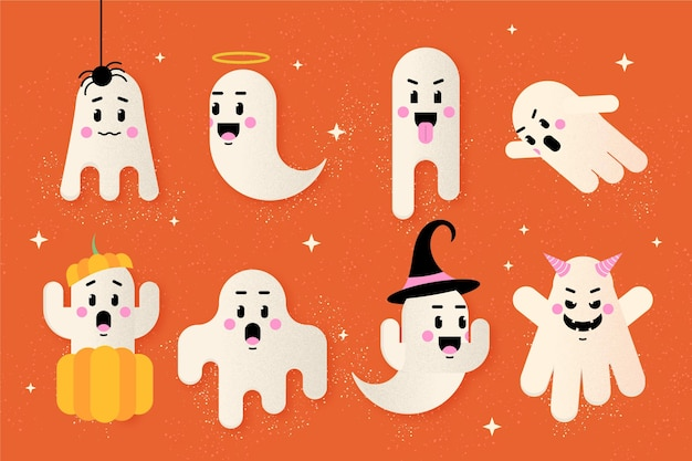 Ensemble De Fantômes D'halloween Design Plat Vecteur gratuit