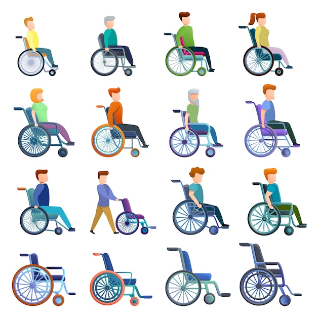 Ensemble fauteuil et personnages, style cartoon Vecteur Premium