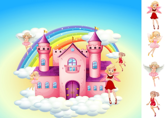 Ensemble de fées dans le château du ciel Vecteur gratuit