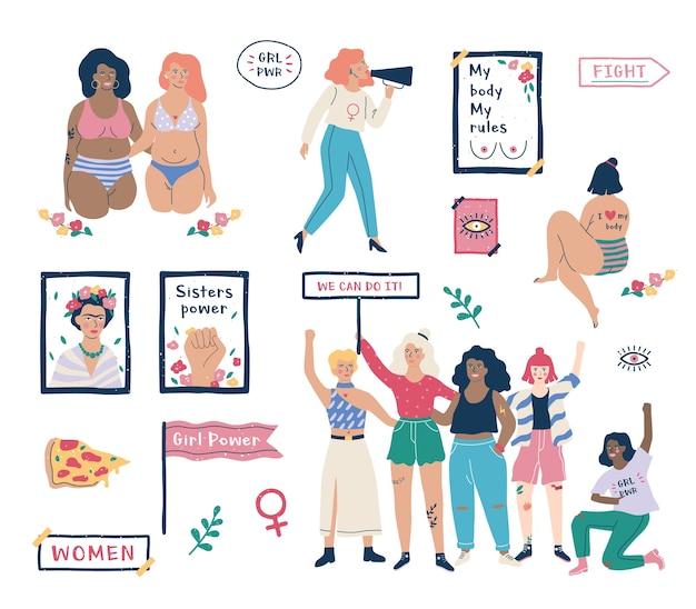 Ensemble De Féminisme. Idée D'égalité Des Droits Et Corps Positif Vecteur Premium