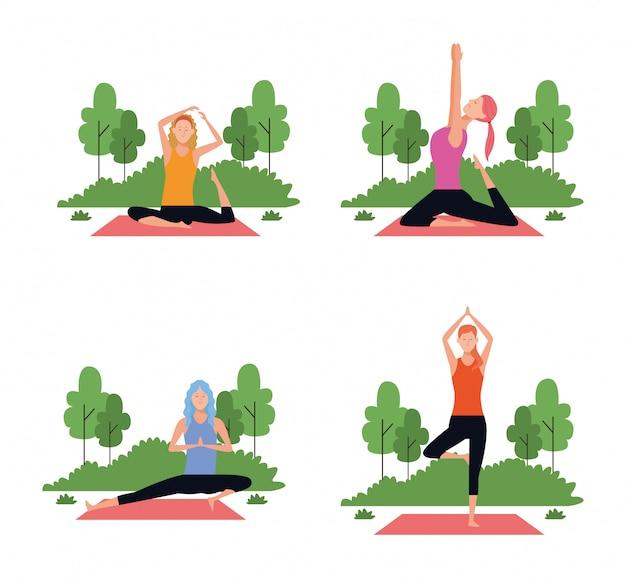 Ensemble de femme dans des poses de yoga Vecteur Premium