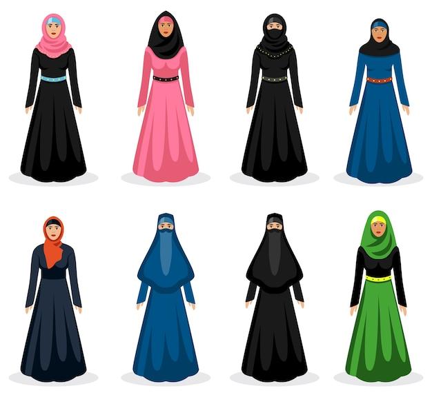 Ensemble De Femme Du Moyen-orient. Hijab Arabe Traditionnel, Vêtements De Fille Ethnique, Illustration Vectorielle Vecteur gratuit