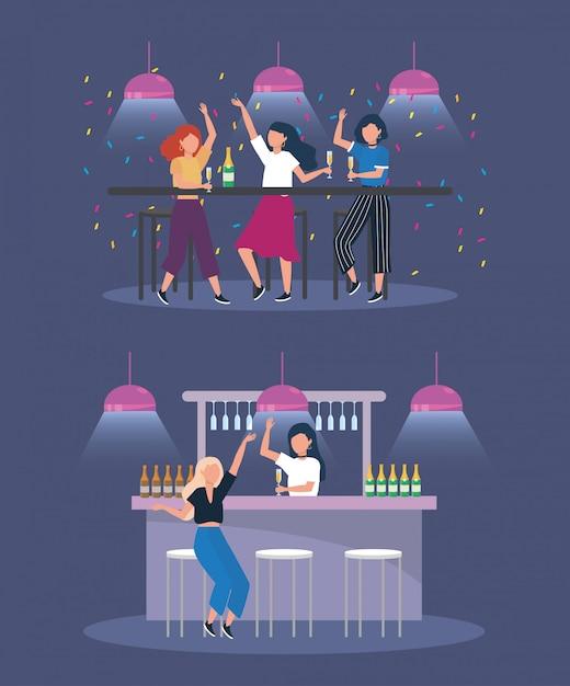 Ensemble de femmes avec des lumières et des bouteilles de champagne Vecteur gratuit