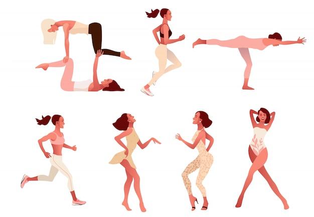 Ensemble De Femmes Positives Actives Pratiquant Un Mode De Vie Sain, Faisant Du Yoga, De L'entraînement, Vecteur Premium