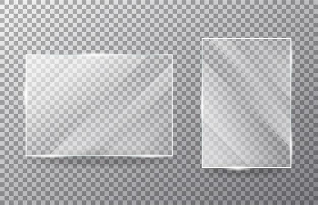 Ensemble De Fenêtre En Verre Transparent Réaliste Vecteur Premium