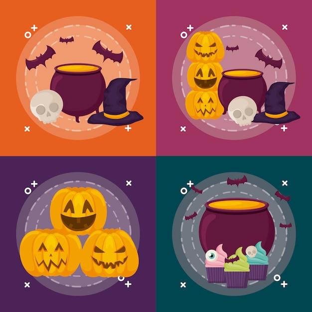 Ensemble de fête d'halloween Vecteur gratuit