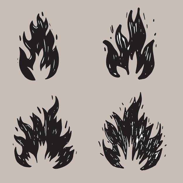 Ensemble de feu dessiné à la main et boule de feu. doodle sketch fire. illustration vectorielle Vecteur Premium
