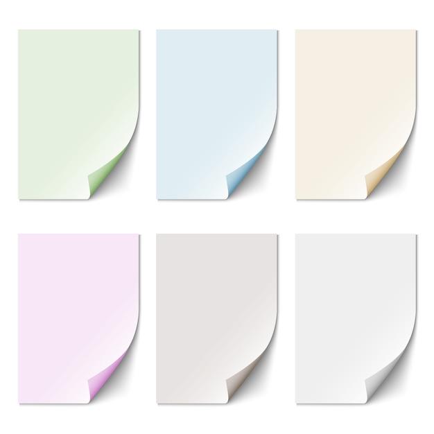 Ensemble de feuille de papier vide dans des couleurs pastel Vecteur Premium