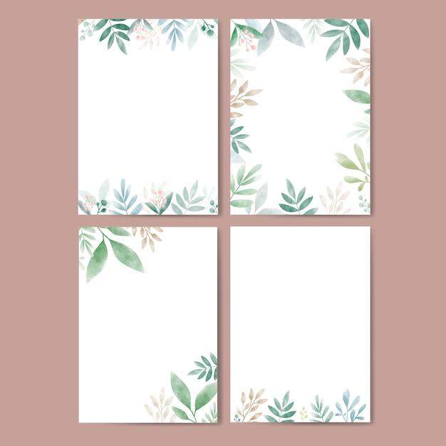 Ensemble de feuilles à l'aquarelle avec espace de copie Vecteur gratuit