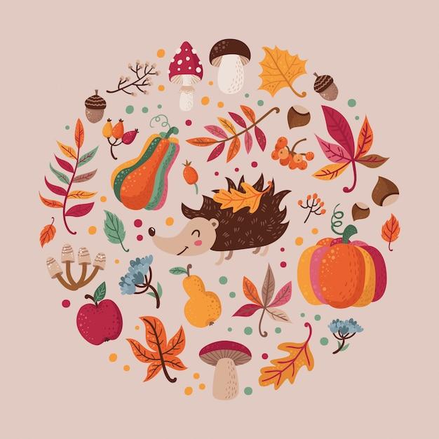 Ensemble de feuilles d'automne dans un cercle Vecteur Premium