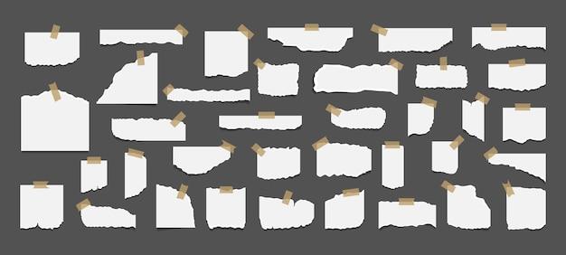 Ensemble De Feuilles De Papier Blanc Déchiré Déchiré Avec Autocollant. Vecteur Premium
