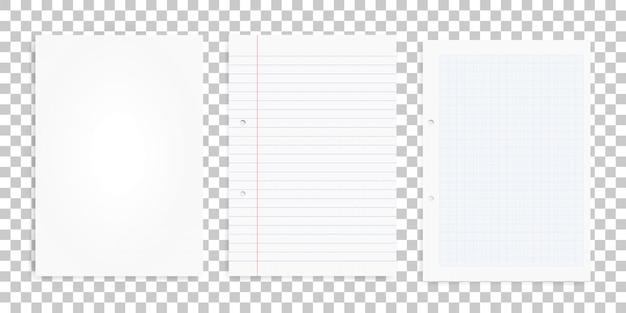 Ensemble de feuilles de papier blanc sur fond transparent. Vecteur Premium
