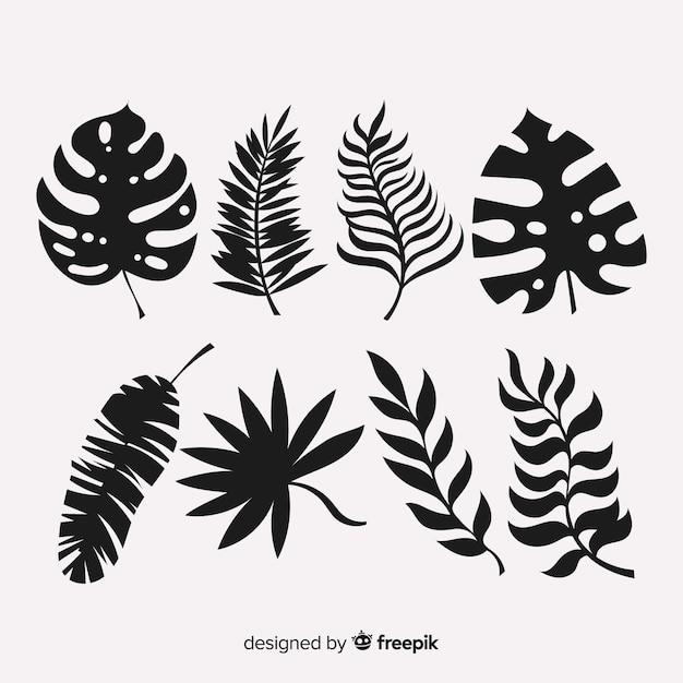 Ensemble de feuilles tropicales avec style silhouette Vecteur gratuit