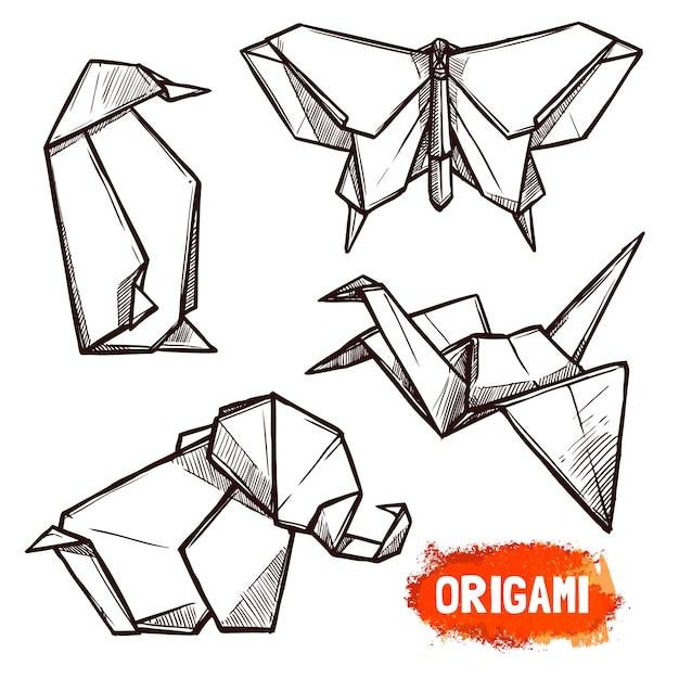 Ensemble de figurines en origami dessinées à la main Vecteur Premium