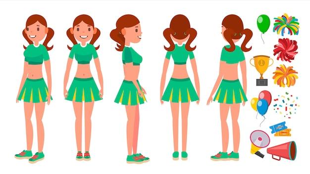 Ensemble filles pom-pom girl Vecteur Premium