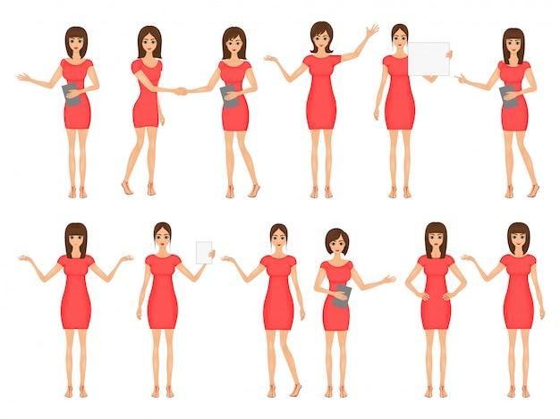Ensemble de filles en robes et sandales. illustration de femmes d'affaires Vecteur Premium