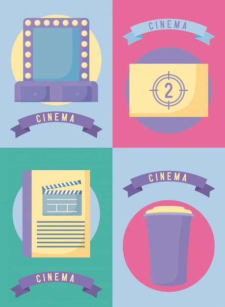 Ensemble de film de cinéma Vecteur Premium