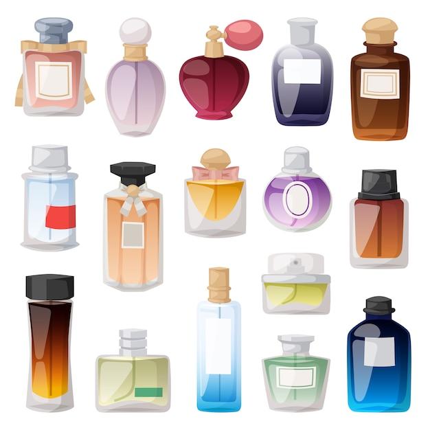 Ensemble De Flacons De Parfum. Vecteur Premium