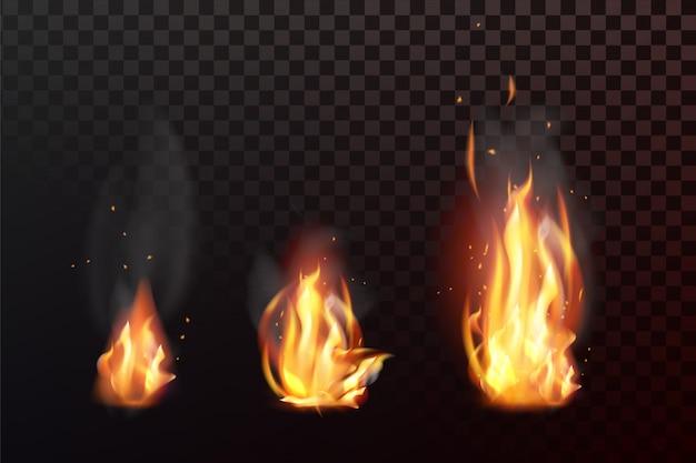 Ensemble de flammes de feu réalistes avec transparence isolé sur fond quadrillé Vecteur Premium