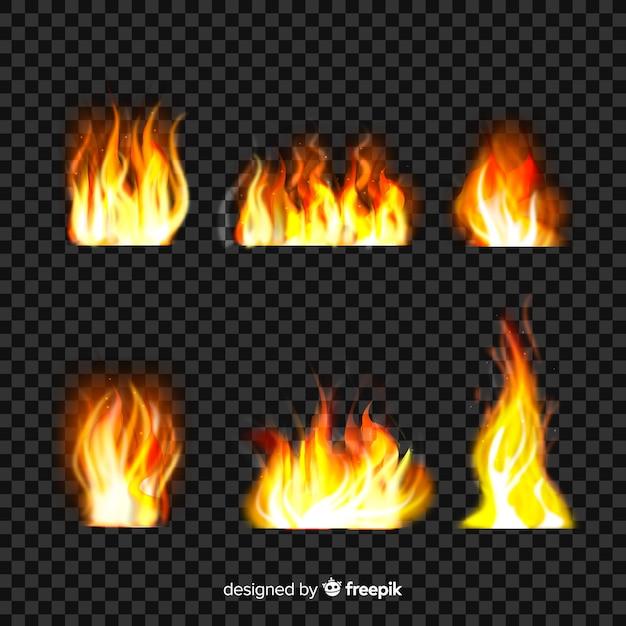 Ensemble de flammes de feu réalistes Vecteur gratuit
