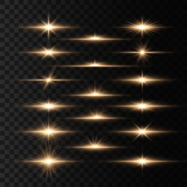 Ensemble de flashes, de lumières et d'étincelles sur un transparent Vecteur Premium