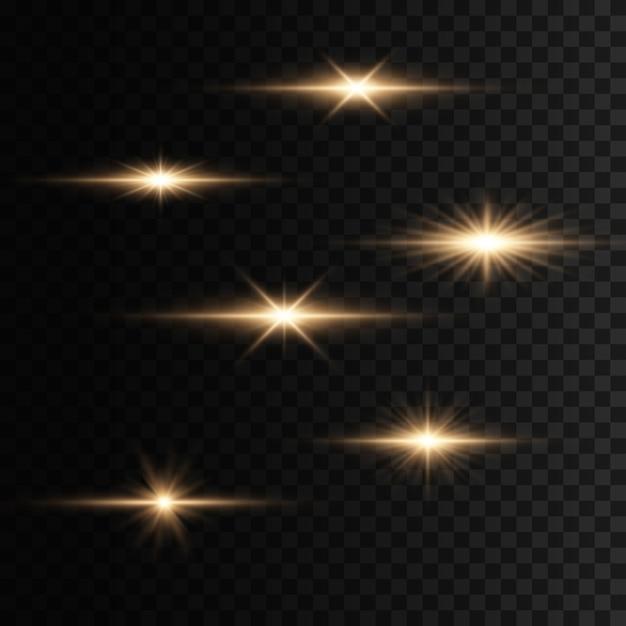 Ensemble De Flashs, Lumières Et étincelles Sur Fond Transparent. Des éclats Et Des Reflets Dorés Brillants. Résumé Des Lumières Dorées Isolées Rayons Lumineux De La Lumière. Lignes Lumineuses. Illustration Eps 10. Vecteur Premium