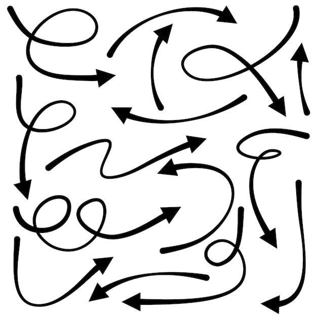 Ensemble De Flèches Dessinées à La Main. éléments De Conception De Doodle. Vecteur Premium