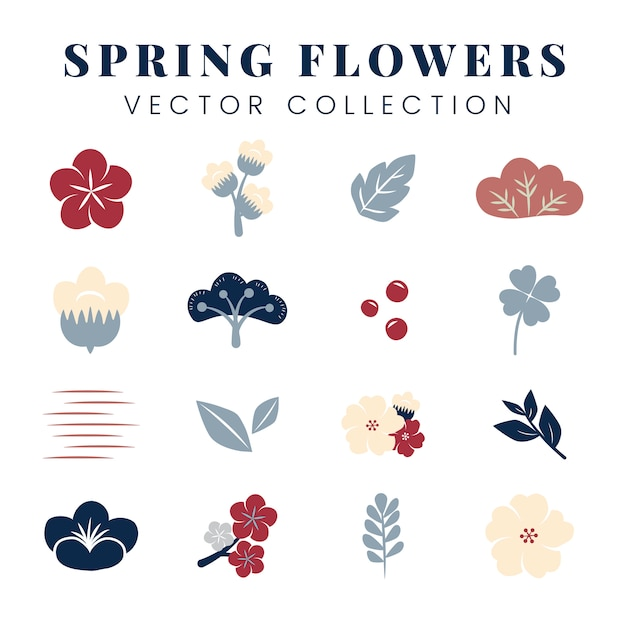 Ensemble de fleurs colorées Vecteur gratuit