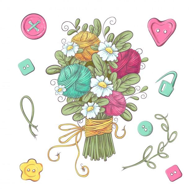 Ensemble de fleurs et d'éléments tricotés à la main Vecteur Premium