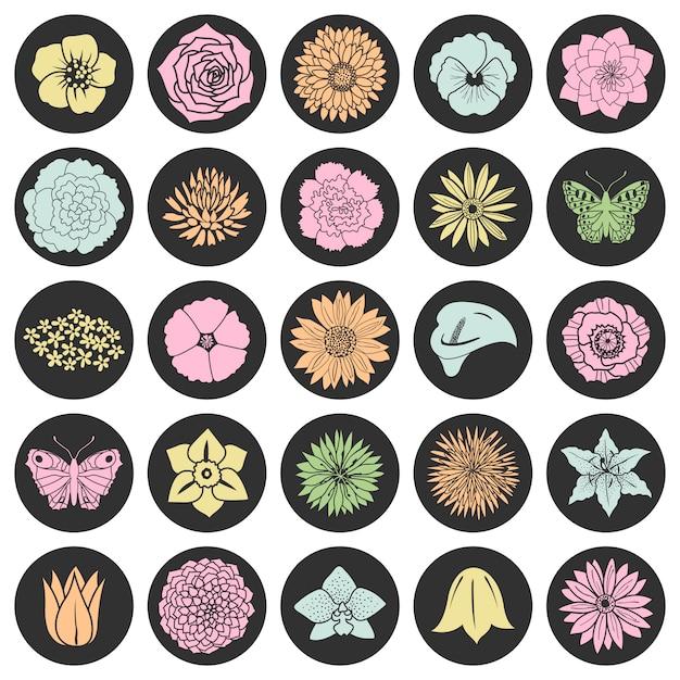 Ensemble de fleurs plates abstraites Vecteur Premium