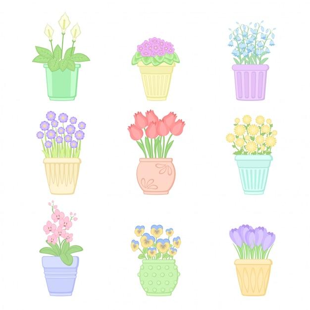 Ensemble De Fleurs En Pots Vecteur Premium
