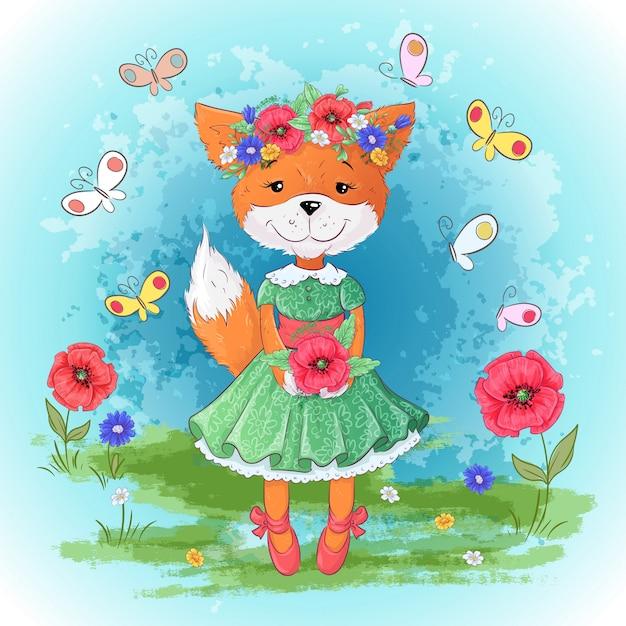 Ensemble de fleurs de renard. main, dessin d'illustration vectorielle Vecteur Premium