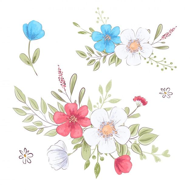 Ensemble de fleurs sauvages et de papillons. dessin à main levée. illustration vectorielle Vecteur Premium