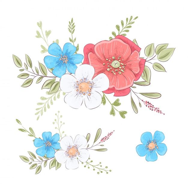 Ensemble de fleurs sauvages et de papillons. illustration de dessin à la main Vecteur Premium