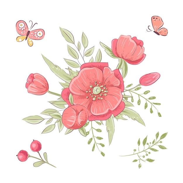 Ensemble de fleurs sauvages rouges et de papillons. dessin à main levée. illustration vectorielle Vecteur Premium