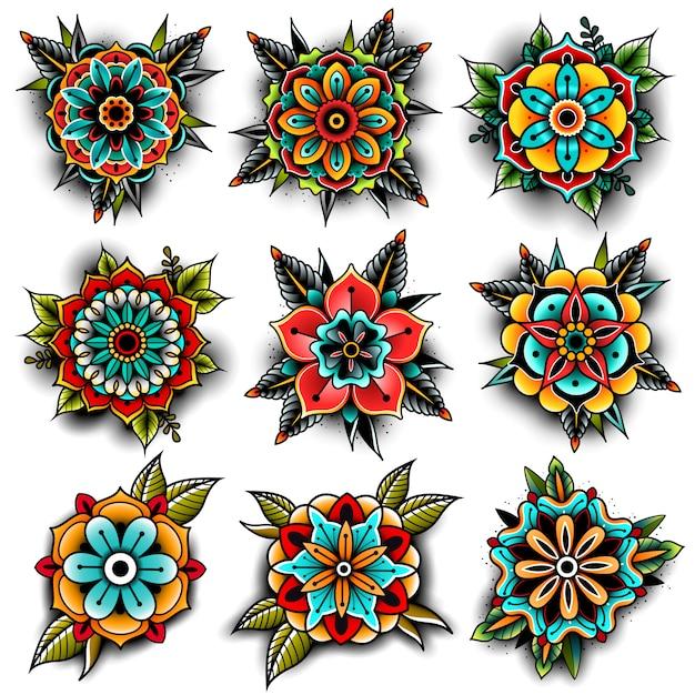 Ensemble de fleurs de tatouage old school Vecteur Premium