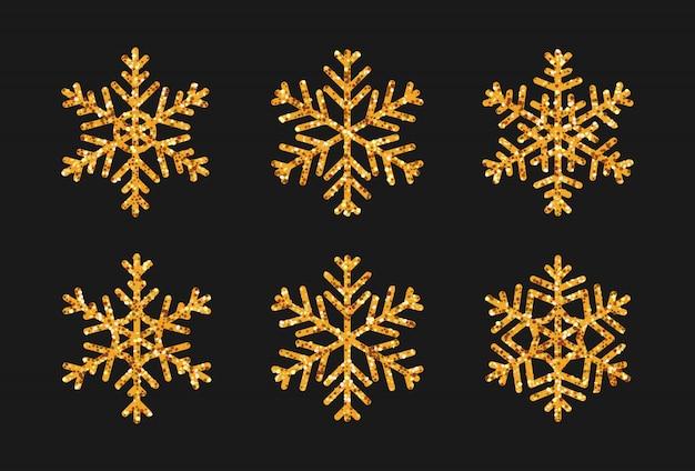 Ensemble De Flocon De Neige Avec Effet De Paillettes D'or. Icône Neige Décoration De Noël Scintille Lueur Dorée. Vecteur Premium