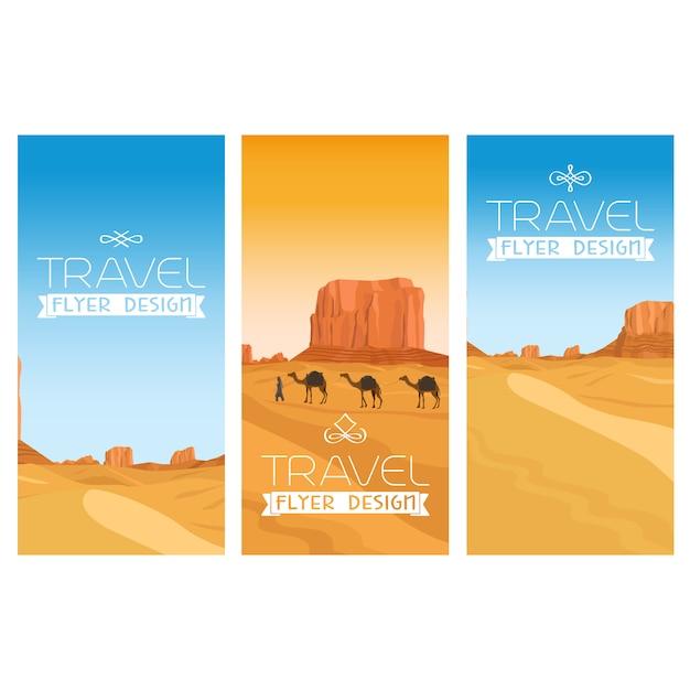 Ensemble de flyers paysage désertique des montagnes Vecteur Premium