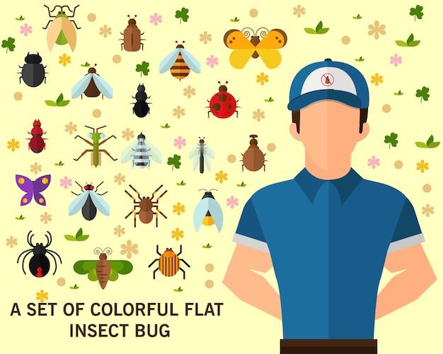 Un ensemble de fond coloré concept insecte plat bug Vecteur Premium