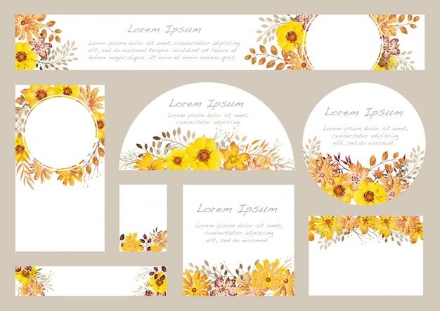 Ensemble De Fond Floral Aquarelle Avec Espace De Texte, Illustration. Vecteur Premium