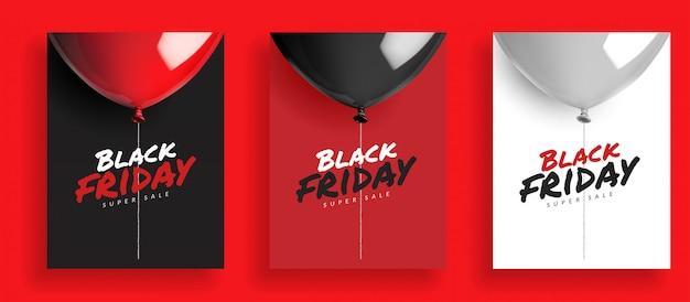 Ensemble de fond noir super vente vendredi, ballons avec une corde. design pour carte bannière affiche Vecteur Premium